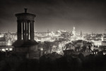 a view over Edinburgh from Calton Hill at night.