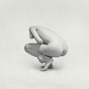 crouching abstract naked girl in a studio in Black and white. Fine art print