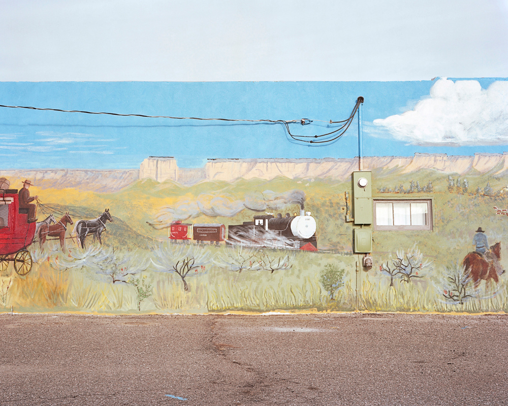 A mural outside of the town museum.