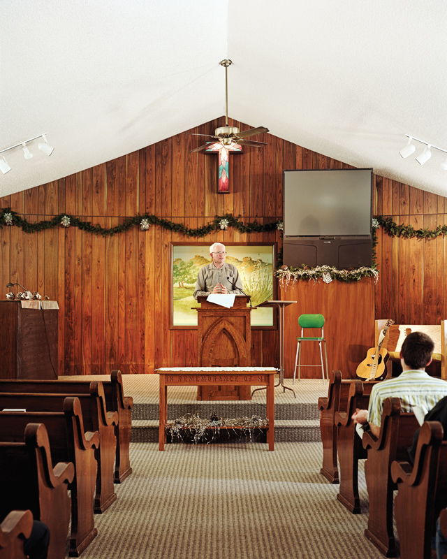 Pastor Mike Baber preaches in the Chugwater Valley Church. Chugwater, Wyoming