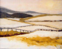 oil painting of snow on fences fields and woods in Caledon