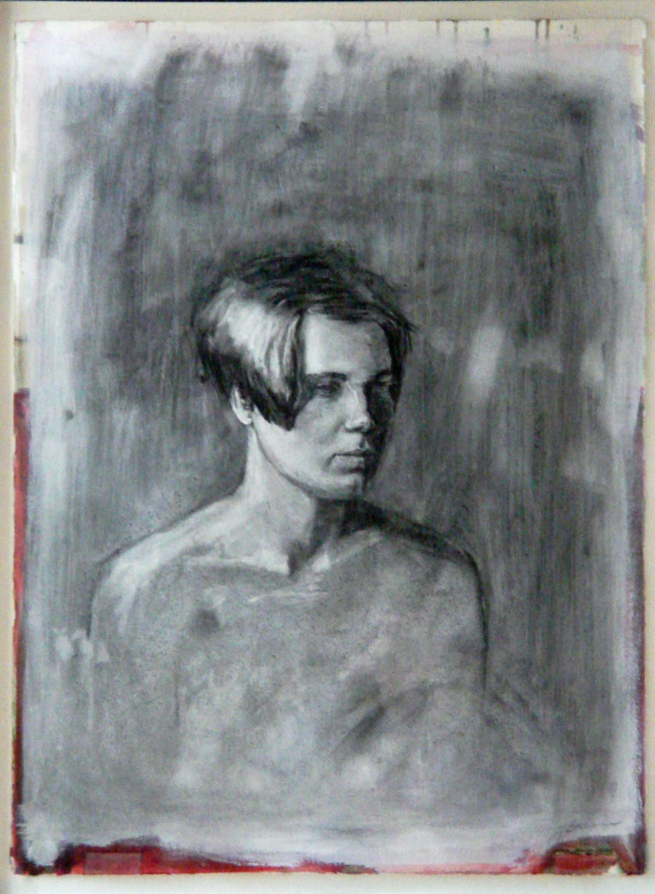 charcoal portrait drawing of a young woman on gessoed and painted paper, 32{quote}x18{quote}