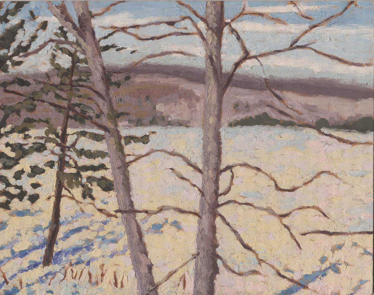oil painting of Lac Memphremagog in winter