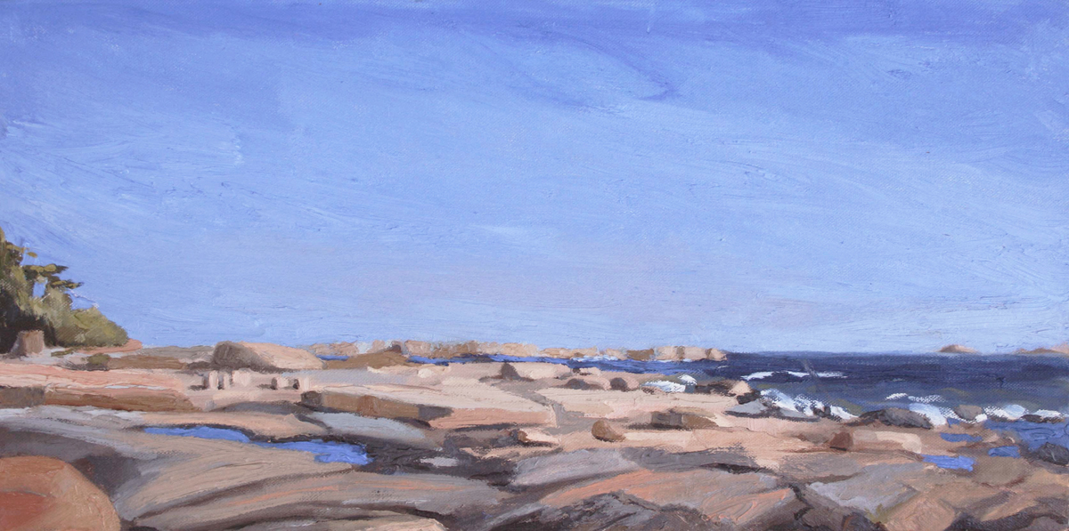 oil painting of rocks on Georgian Bay, Canada
