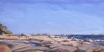 oil painting of rocks on Georgian Bay, Canada