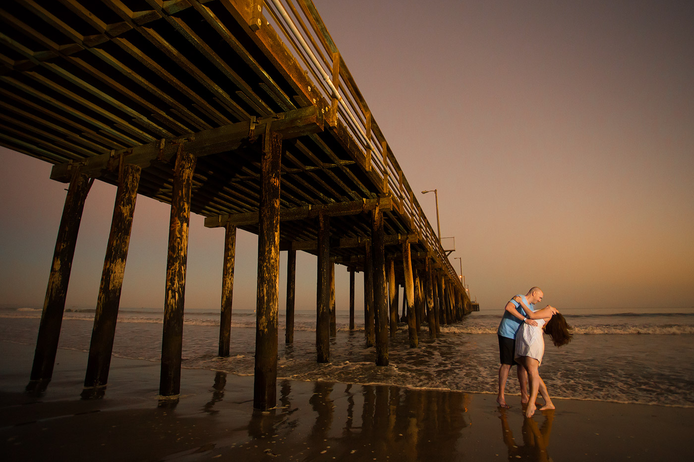 Engagement photo taken at Avila Beach in San Luis Obispo.