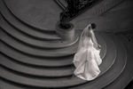 Bride on the stairs of the San Francisco City Hall