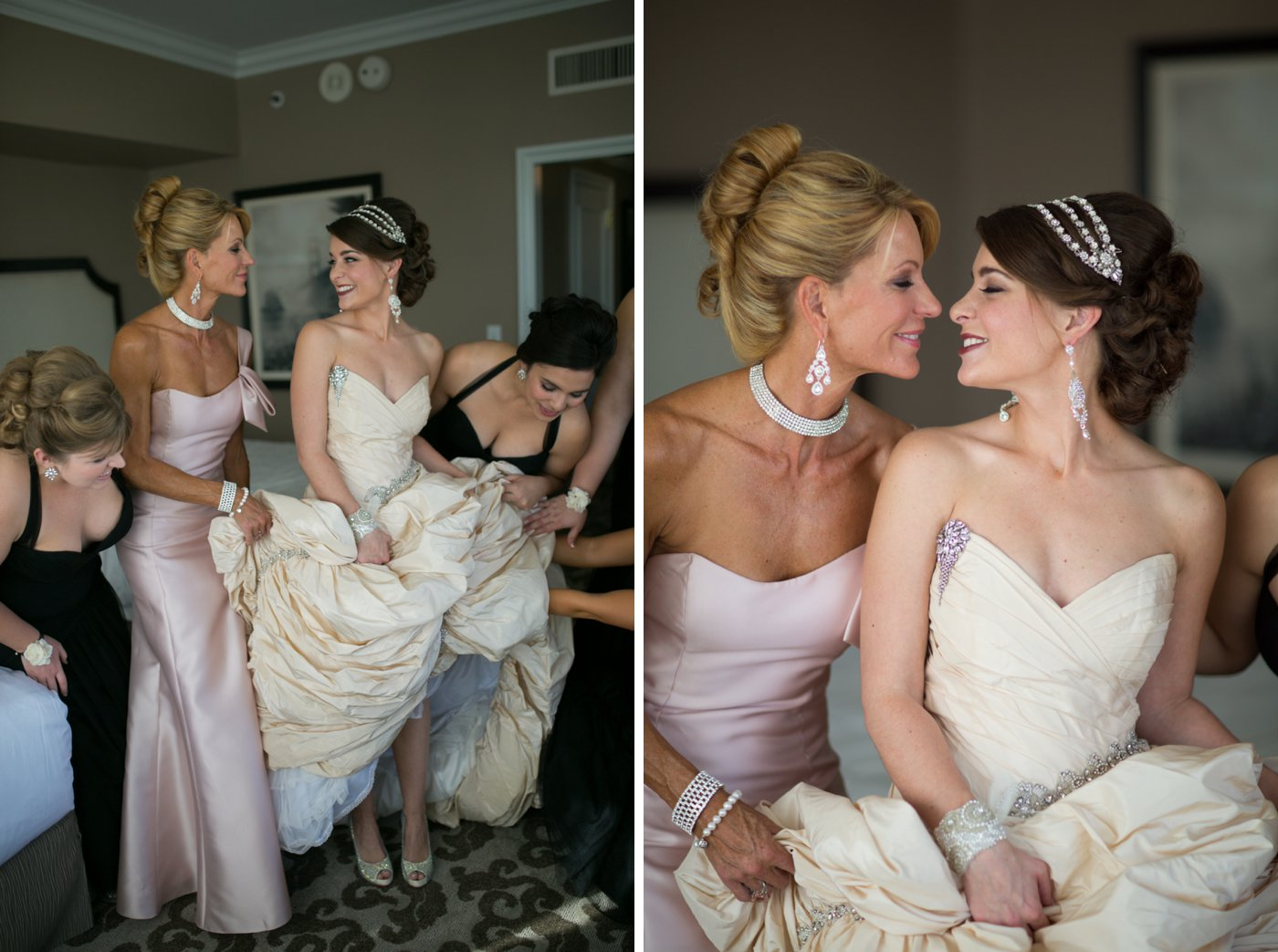 Bride and bridesmaids getting ready during a wedding at the Fairmont Hotel in San Francisco