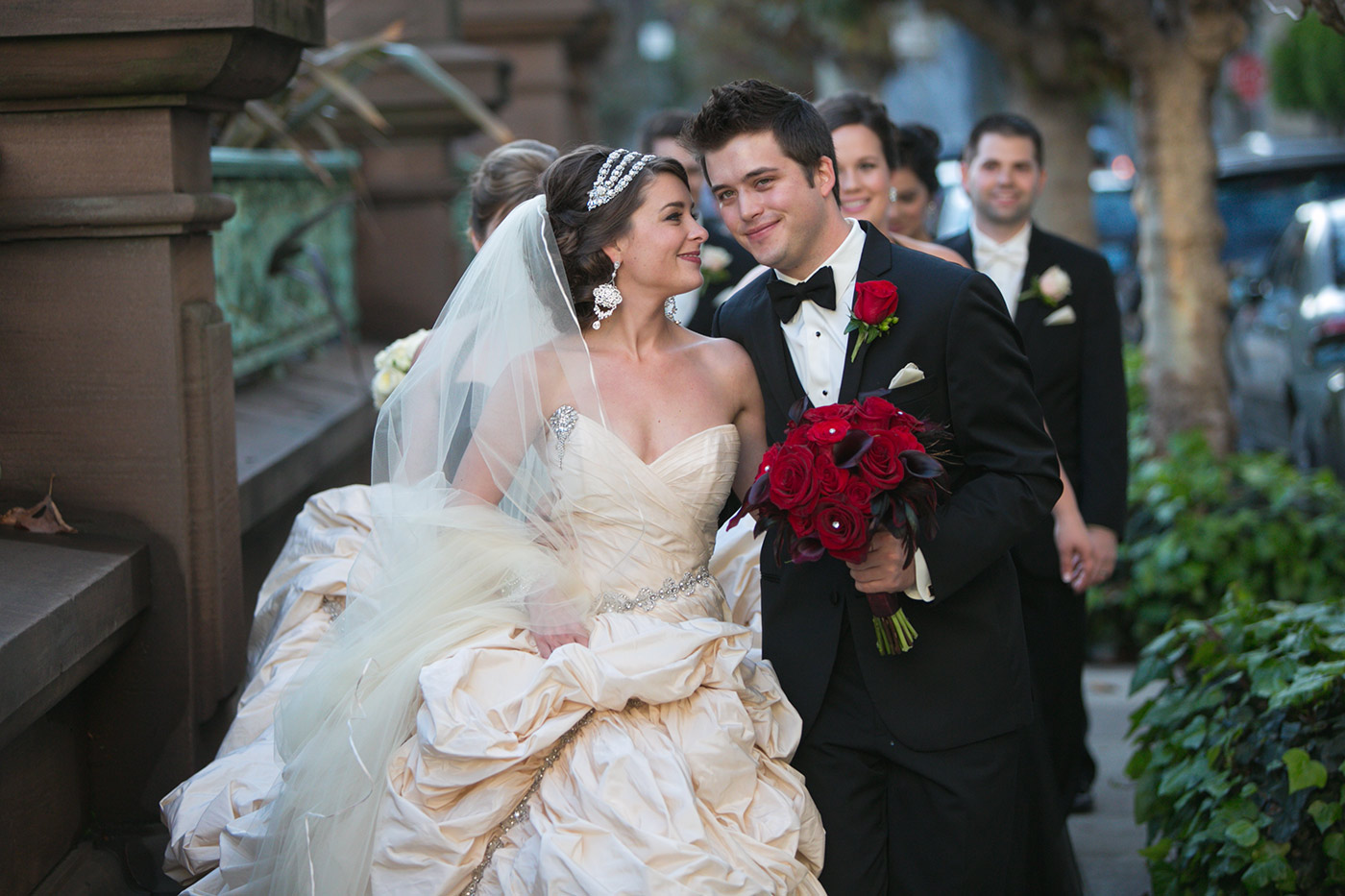 Wedding at the beautiful Fairmont in San Francisco, bride and groom walking down the street