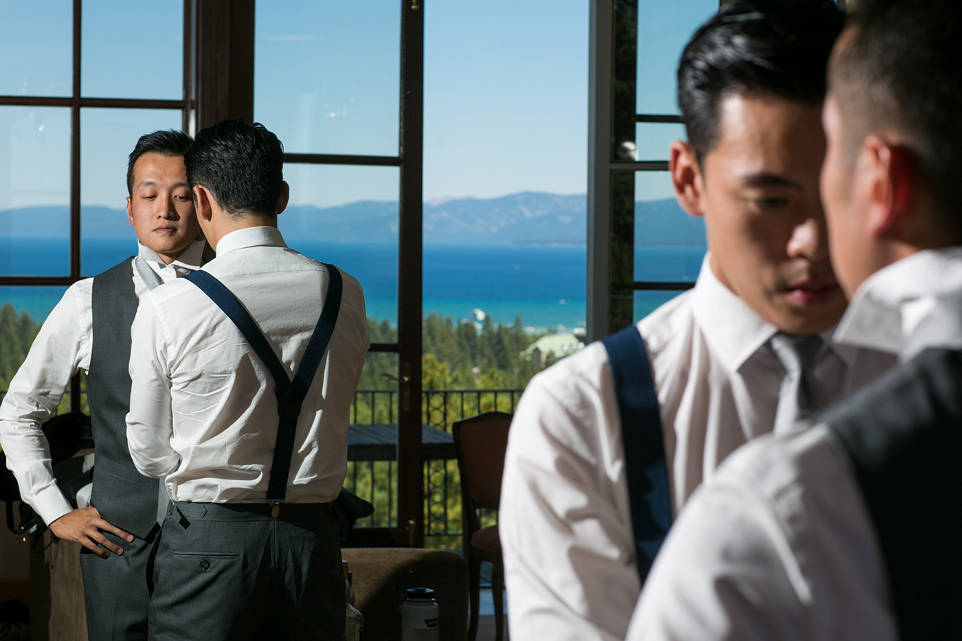 groom getting ready at a hyatt lake tahoe wedding