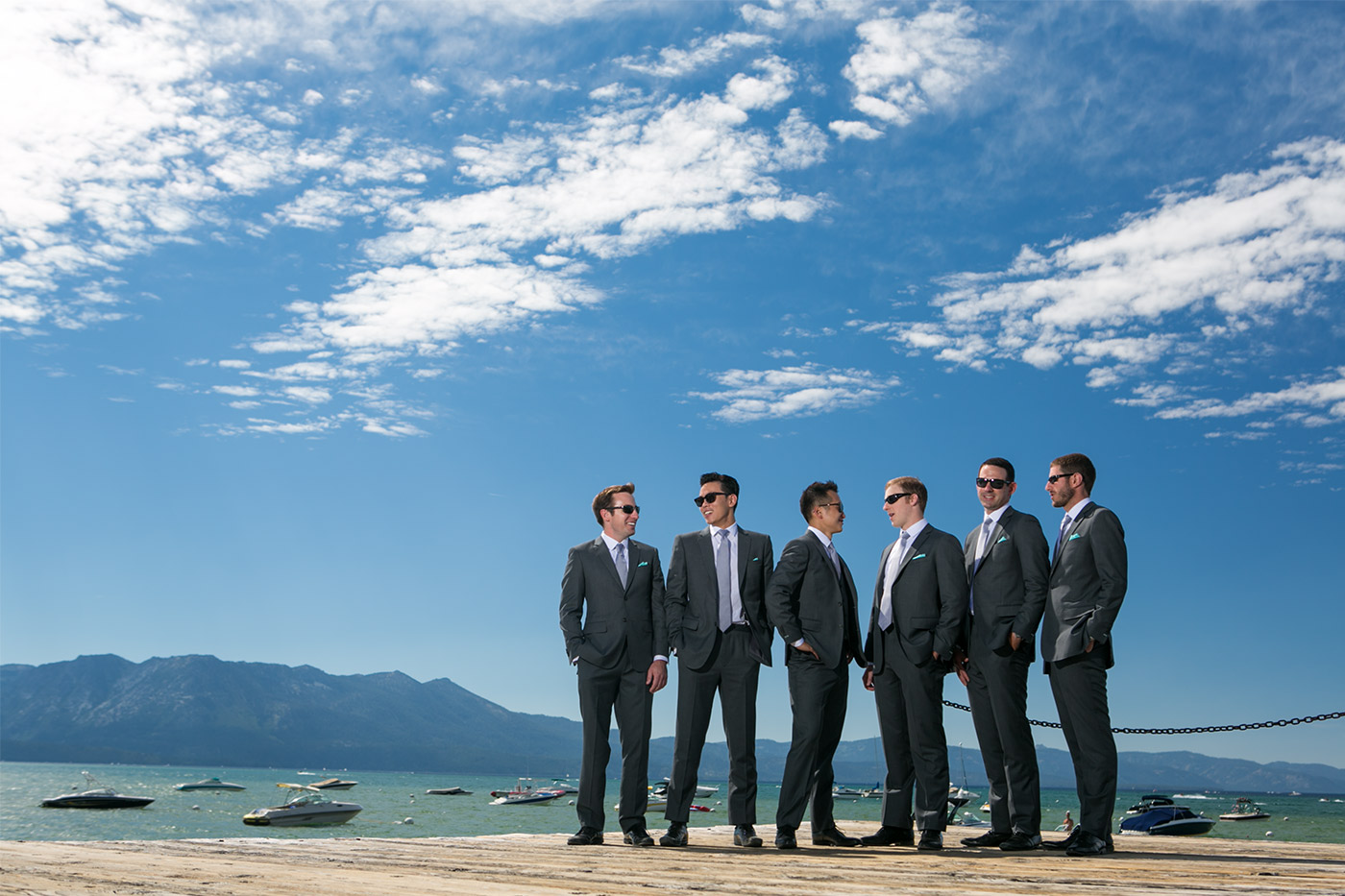 groom and groomsmen walking at a hyatt lake tahoe wedding