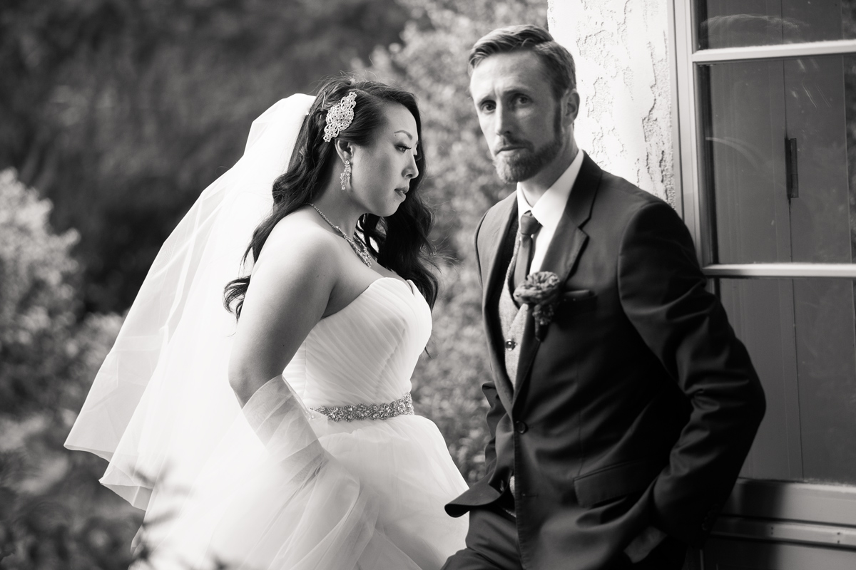 portrait of a bride and groom at their Napa Valley wedding