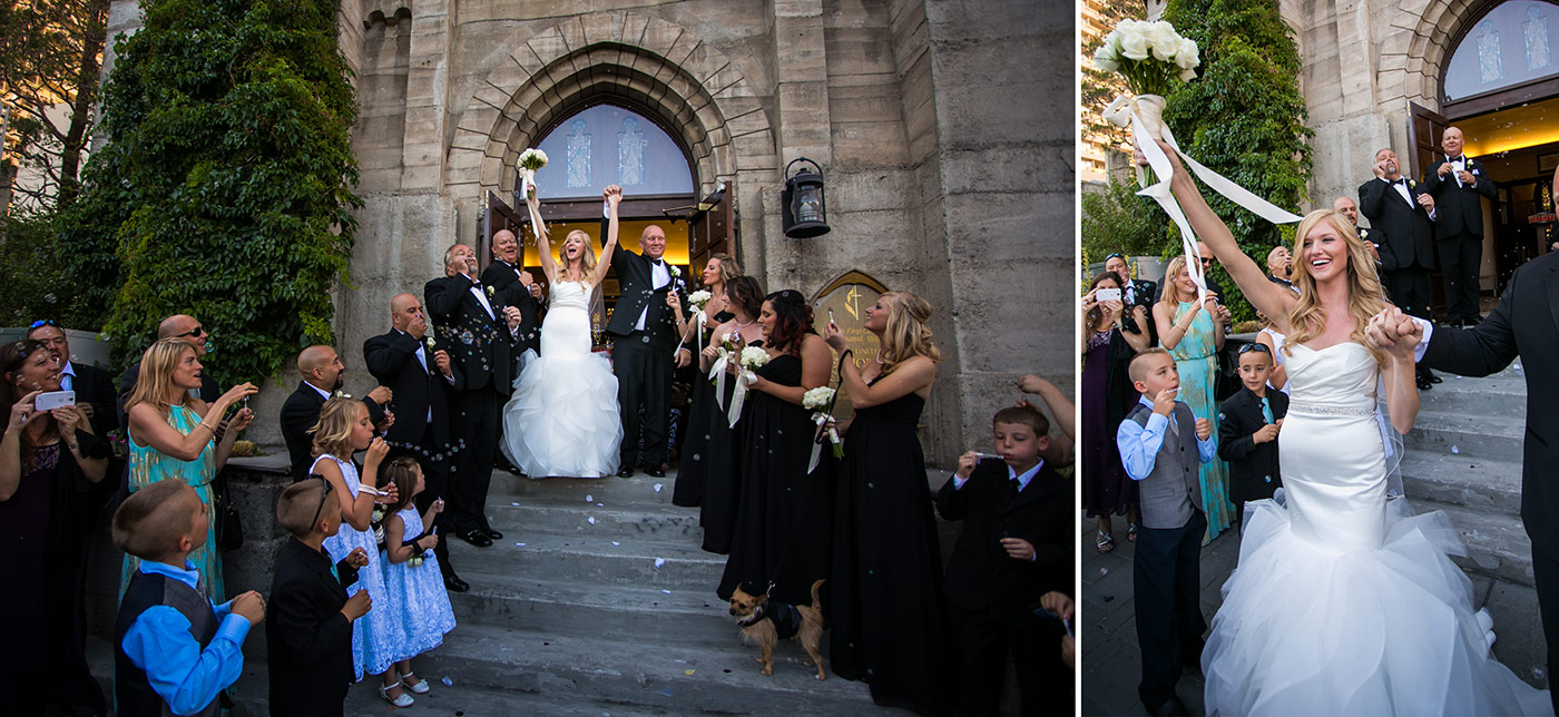 bride and groom exiting the church at san francisco fairmont wedding