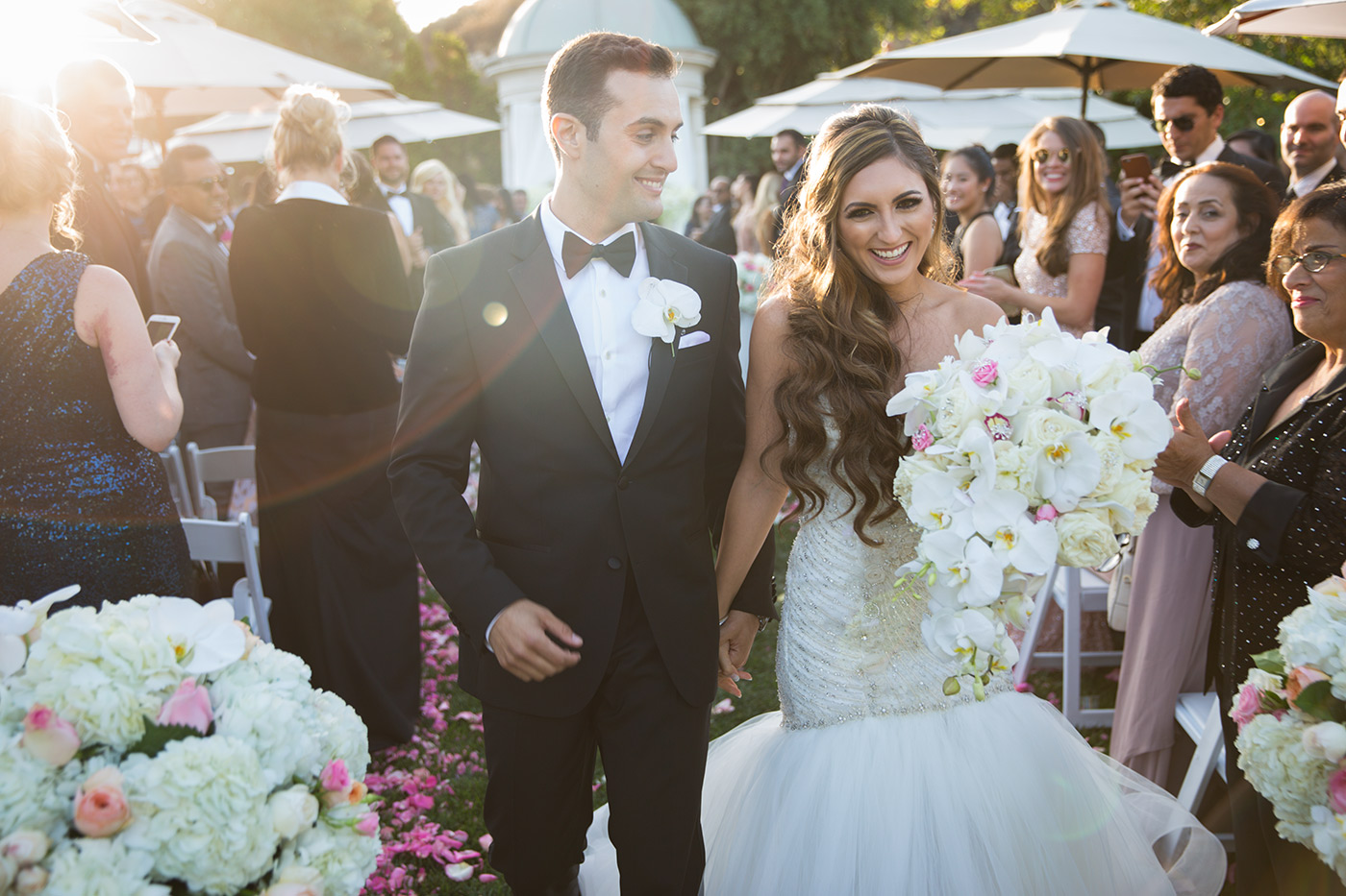 Bride and groom after their Silver creek valley country club wedding ceremony in san jose