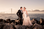 Sunset portrait of bride and groom at a st. francis yacht club wedding