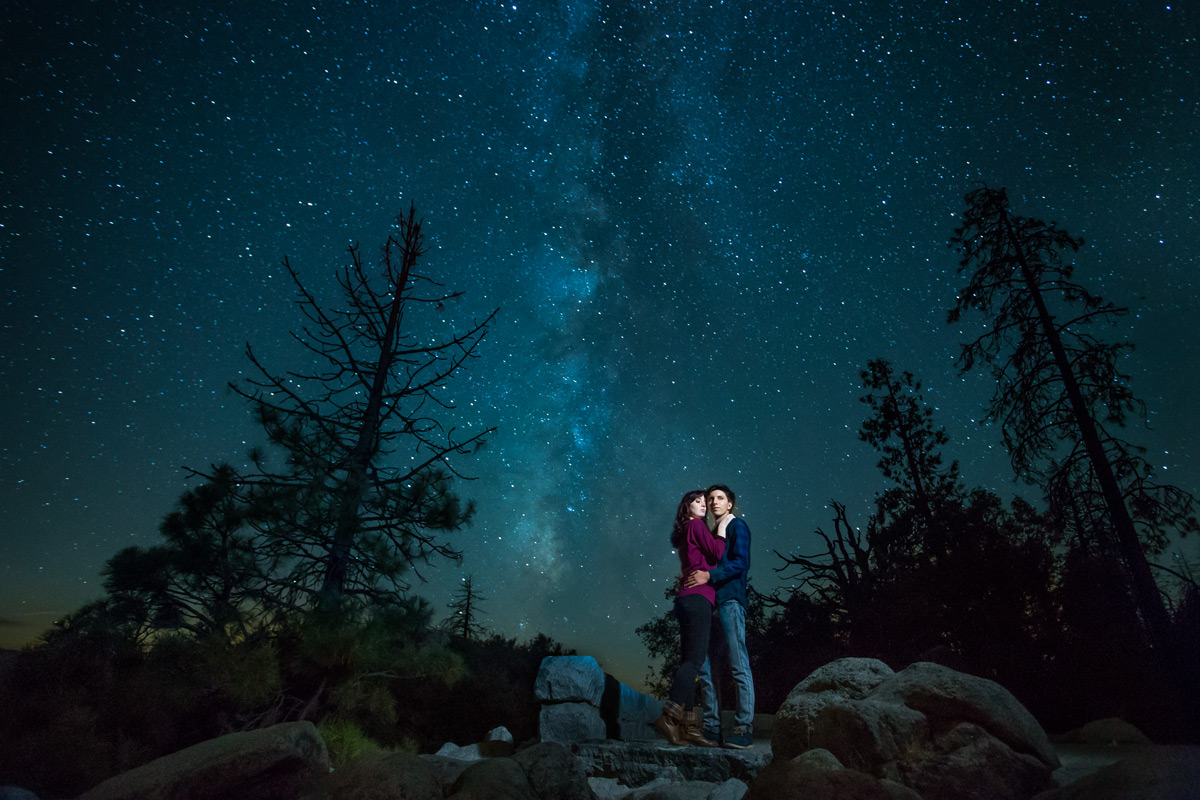nighttime engagement session in yosemite