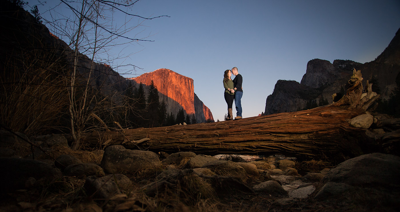 Yosemite has many gorgeous locations for engagement photography. One day in January, I photographed Karlie and Sam.One frame from a beautiful engagement session in Yosemite National park, where Karlie and Sam will tie the knot at the historic Ahwahnee Hotel, or lately at the Majestic Yosemite Hotel.