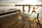 Kids jumping off the dock - images shot for Harris Floteboat for their advertising.