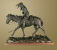bronze sculpture,  Blackfoot Indian tracker,  by western artist