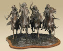 Apache warriors on horseback, bronze sculpture by western artist Ernest Berke