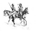 Two mounted Indian trackers looking for signs of men on horseback who might have passed by earlier.