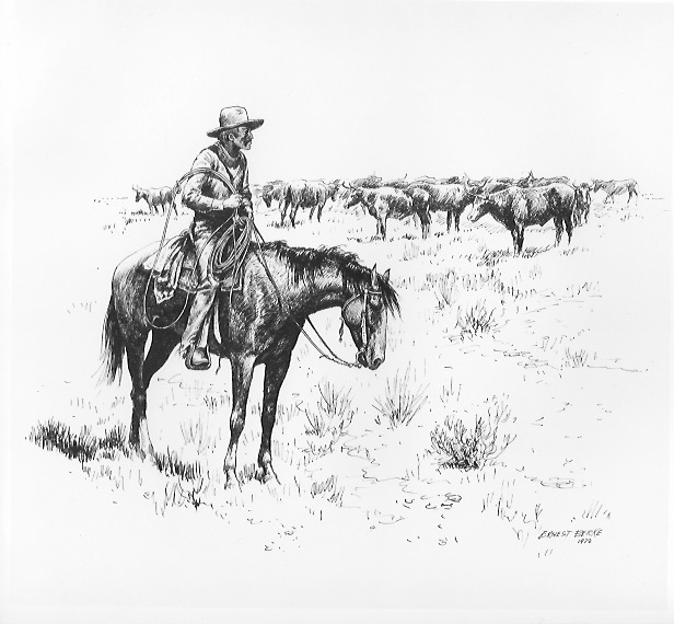 Depiction of a mounted cowboy watcing over a herd of cattle.