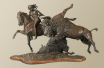 Buffalo hunt bronze sculpture, by western artist Ernest Berke