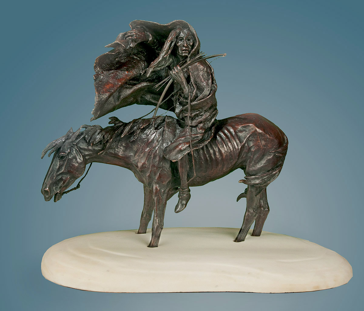 bronze sculpture, white marble base, starving Indian and horse, January by western artist Ernest Berke