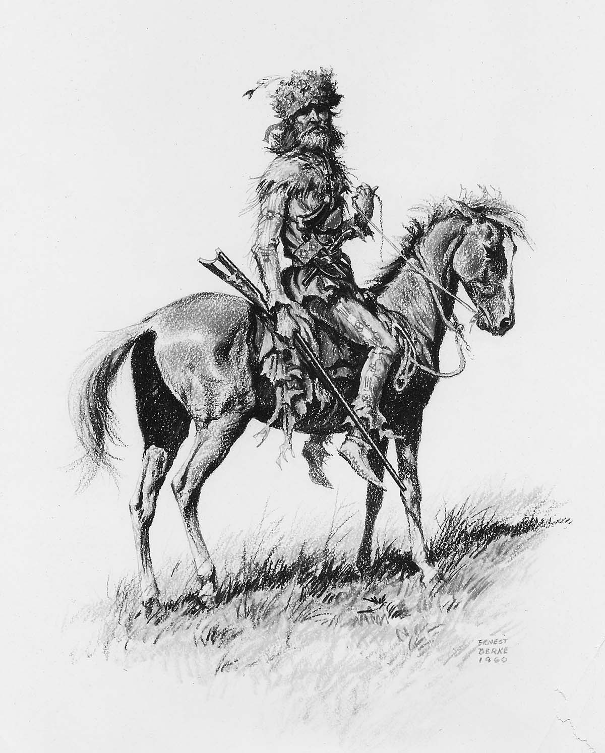 A mountain man of the 1850's on a fine pony dressed in buckskins, rifle in hand.