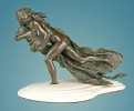 Cheyenne woman running, the Washita Massacre.Bronze sculpture on white marble base by western artist Ernest Berke