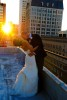 San Francisco Rooftop Wedding Image at Sunset.  Photo taken in the Financial District at the Julia Morgan Ballroom.
