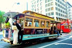 San Francisco Cable Car Korean Wedding Photo taken in Union Square near the Westin St. Francis.  Picture Photographed by Documentary Award Winning San Francisco Wedding Photographer enLuce Photography