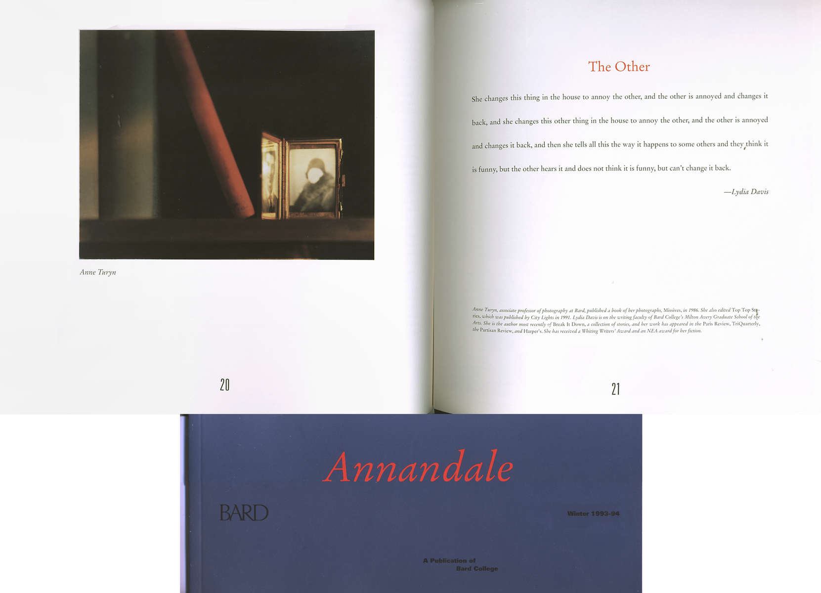 Annandale Volume 133/Number 1, 1993Ginger Shore, editorimage  by Anne Turyn, page 20text by Lydia Davis, page 21