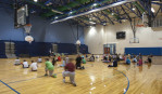 Locust Grove Middle School gym with students