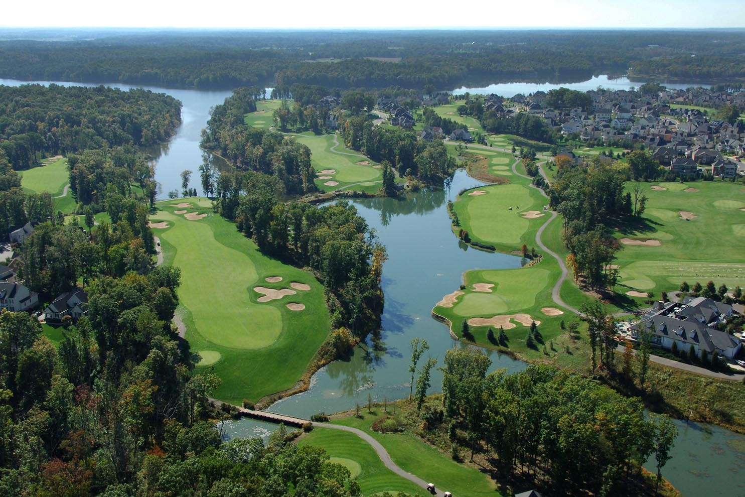 bird's eye view of lake and golf course