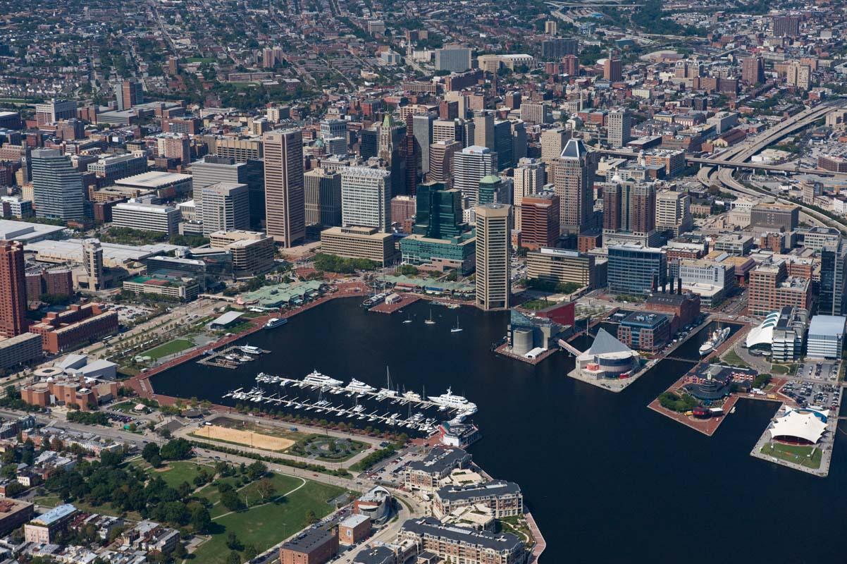 birds eye view of Baltimore inner harbor area