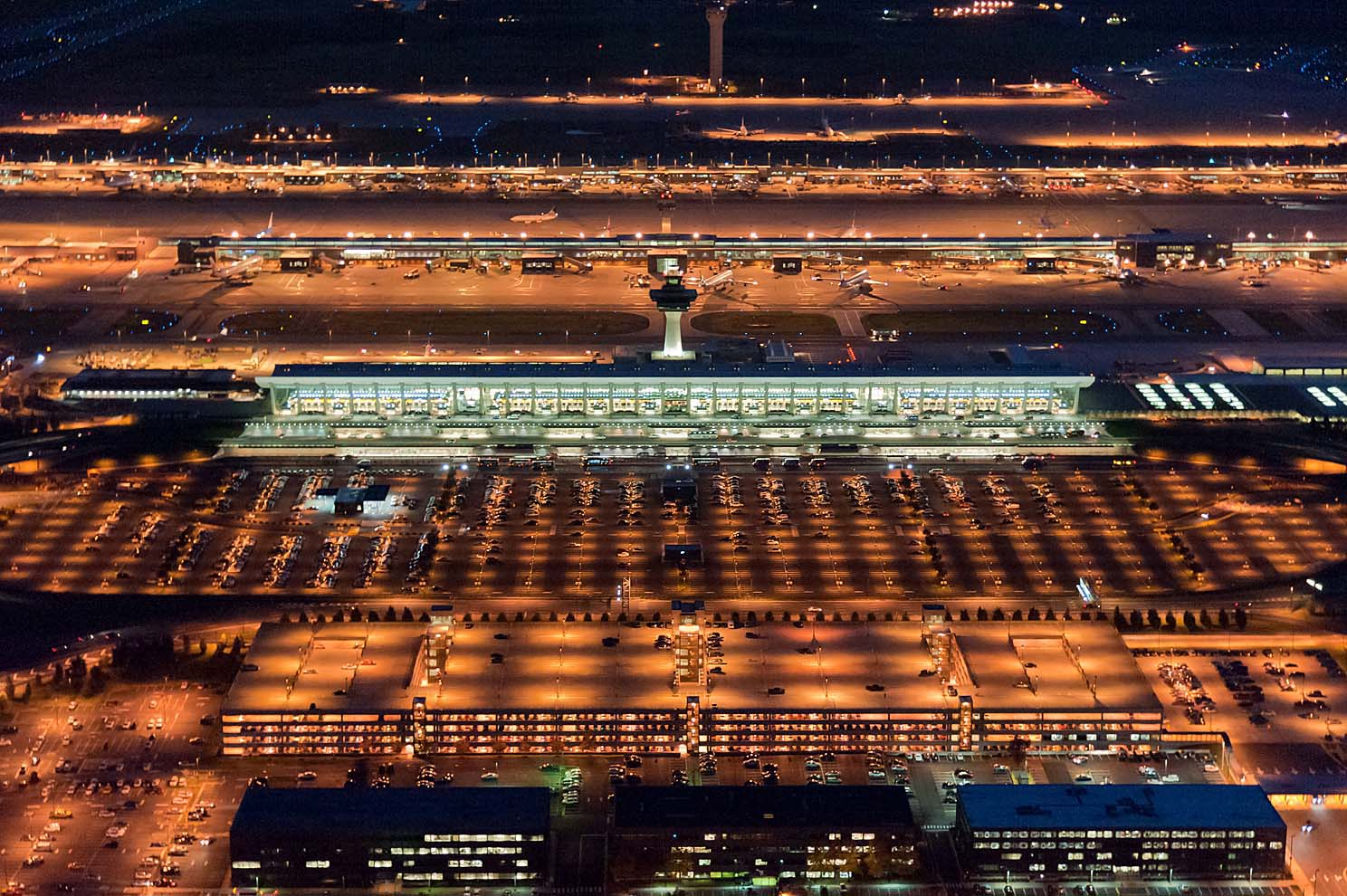 Dulles Airport twilight aerial