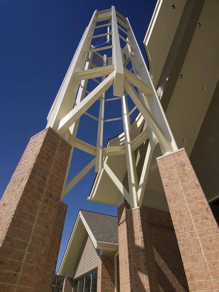 cross tower looking from below toward sky