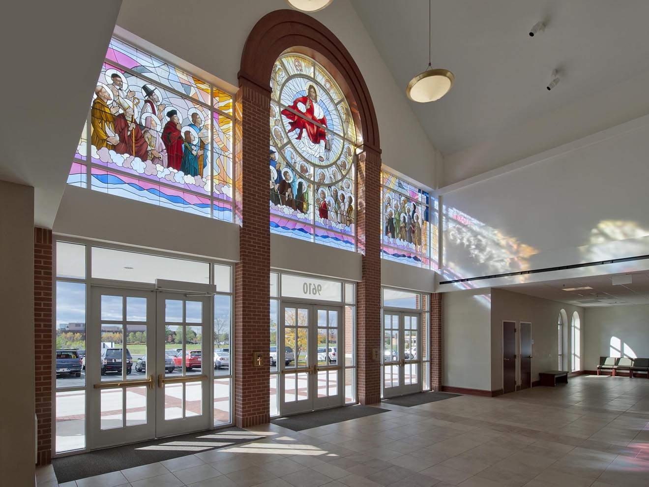 stained glass lobby wall