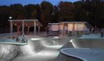 nighttime riders at skatepark