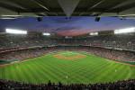 twilight view of full stadium