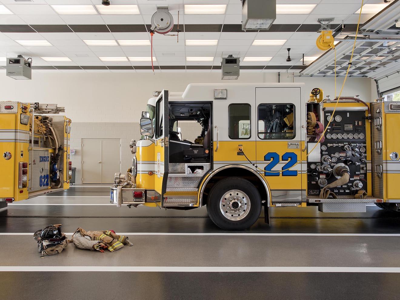 fire truck and ready gear inside