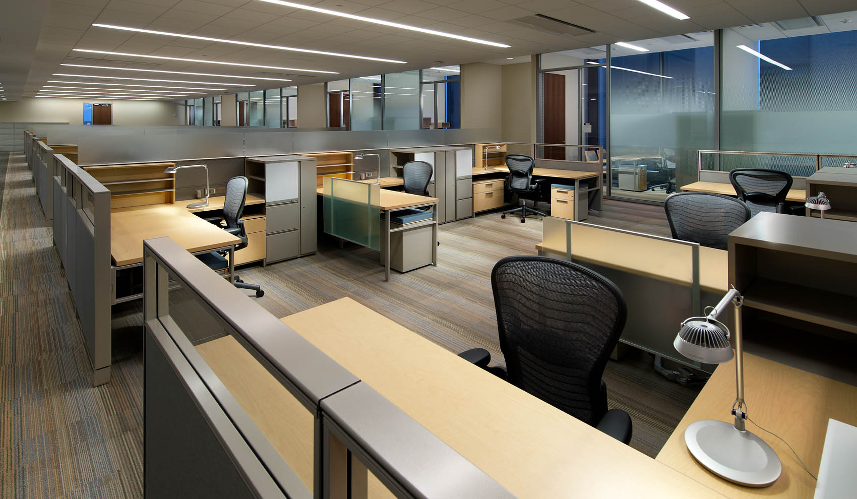 six work spaces in cluster