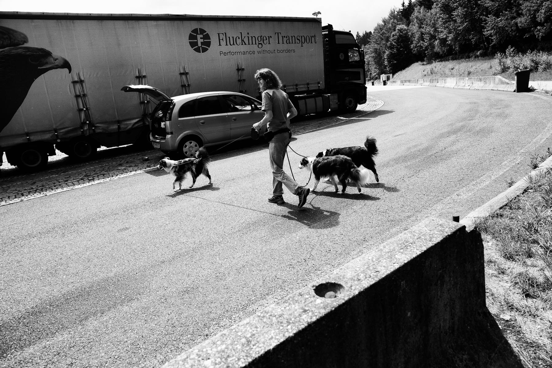 The drives to competitions in Germany, Czech Republic, Poland etc. are long. Jean stops by the highway to stretch her legs and walk the dogs. June 3, 2011.