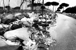 Garbage piles up along a street in the industrial part of Caserta on the outskirts of Naples, Italy, on February 21, 2008.
