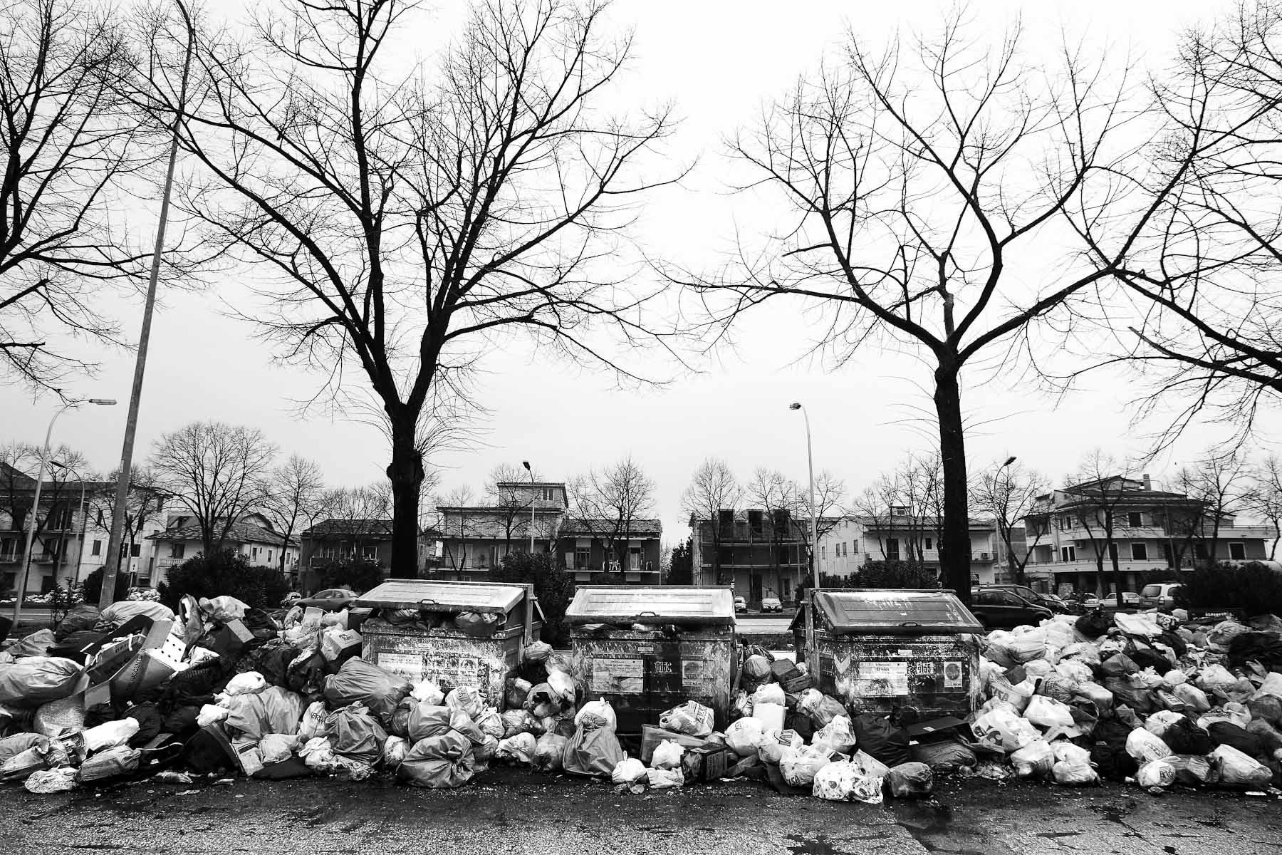 Garbage piles up along a residential street in Caserta on the outskirts of Naples, Italy on February 21, 2008.