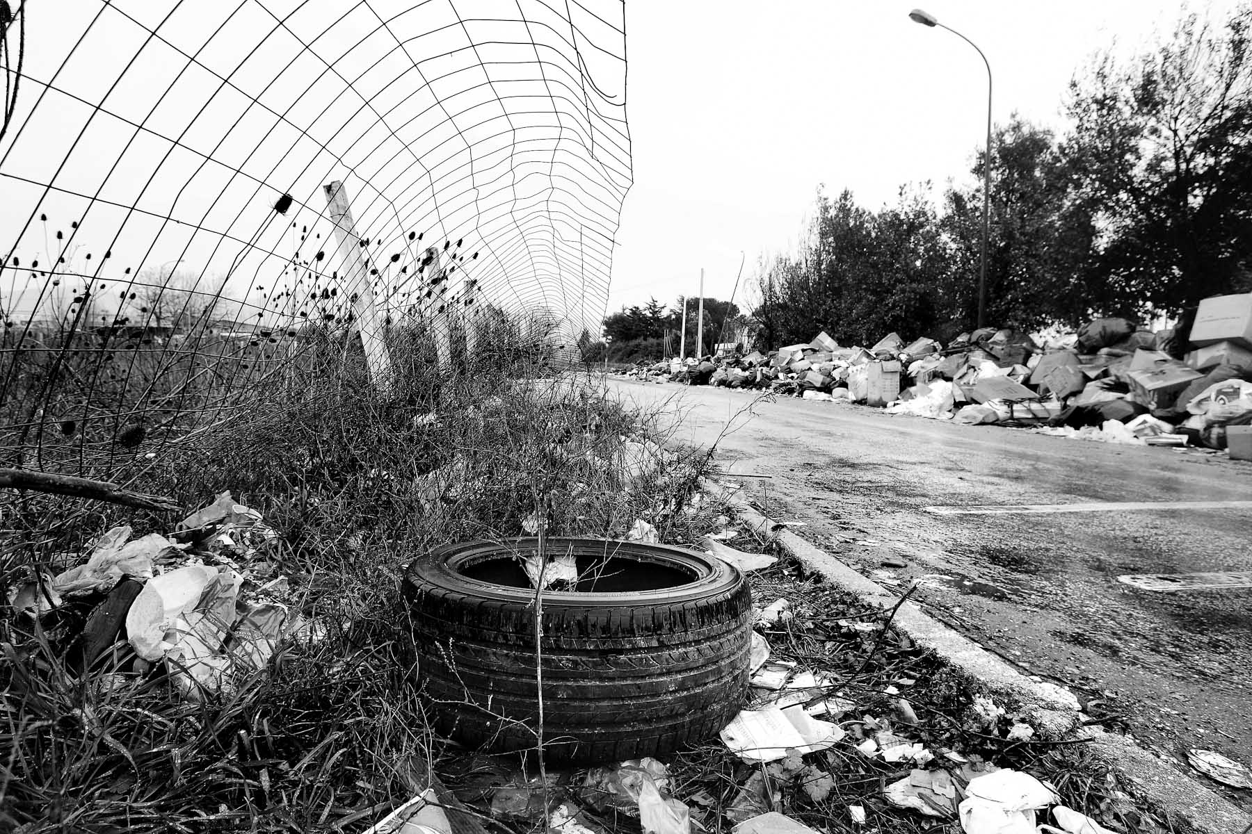 Garbage piles up along a street in the industrial part of Caserta on the outskirts of Naples, on February 21, 2008.