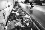 Every stretch of grass along a street in the industrial part of Caserta on the outskirts of Naples is littered with garbage on February 21, 2008.