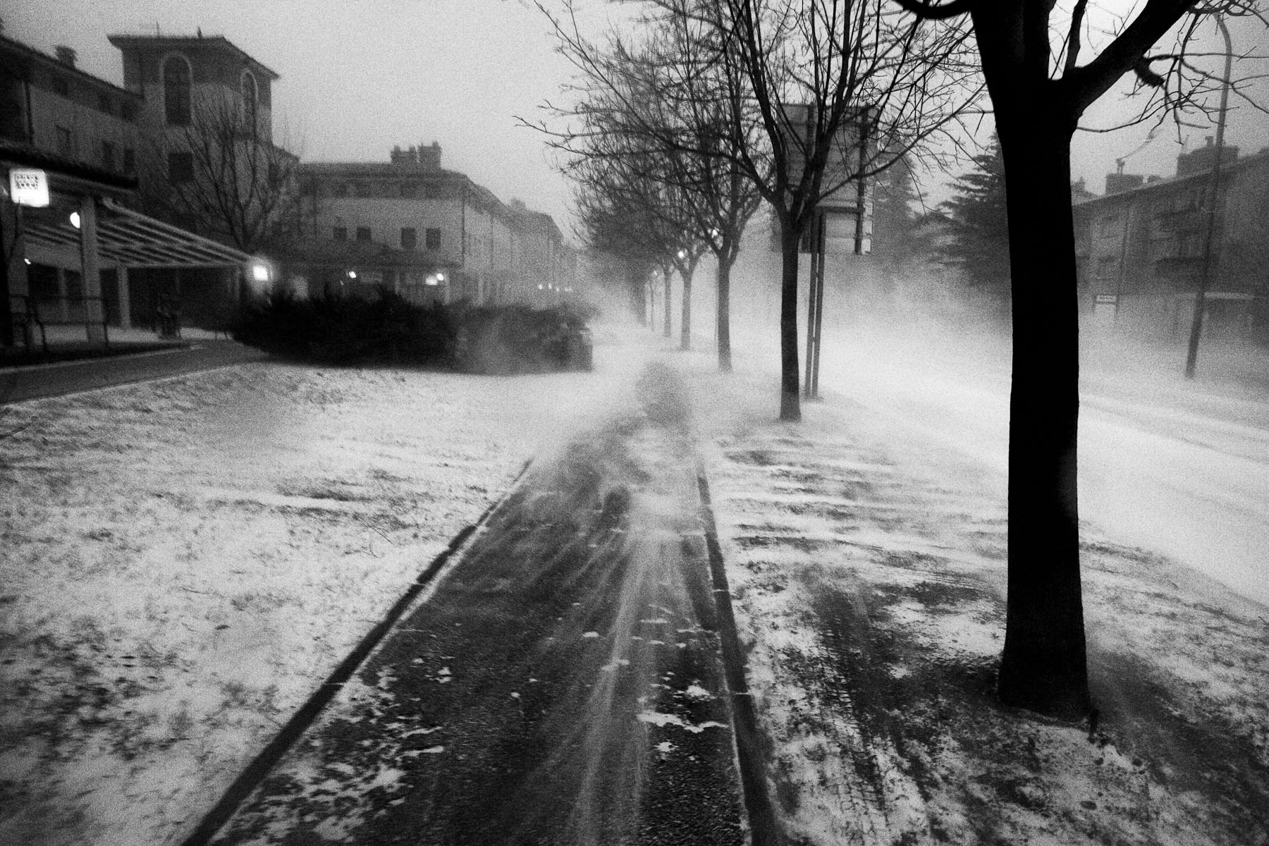 Extreme Bora winds blow through empty streets of Ajdovscina, Slovenia, March 10, 2010.