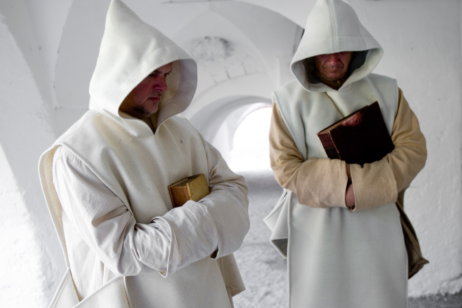 Actors playing Carthusian monks during the first day of the Fiery Carthusia Medieval event in 2007. The original rules of the order were obeyed inside the monastic walls. They wear authentic white clothes.